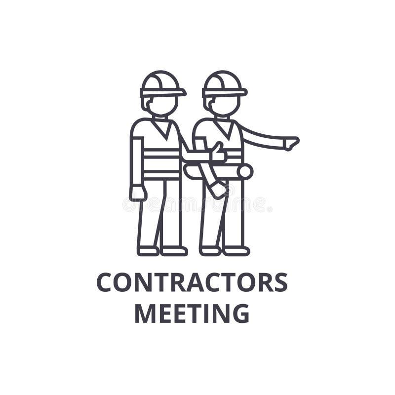Os contratantes que encontram o vetor alinham o ícone, sinal, ilustração no fundo, cursos editáveis ilustração do vetor