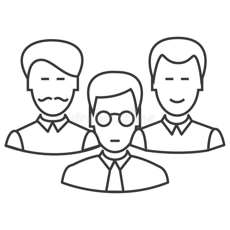 Os coordenadores team a linha ícone do vetor, sinal, ilustração no fundo, cursos editáveis ilustração royalty free