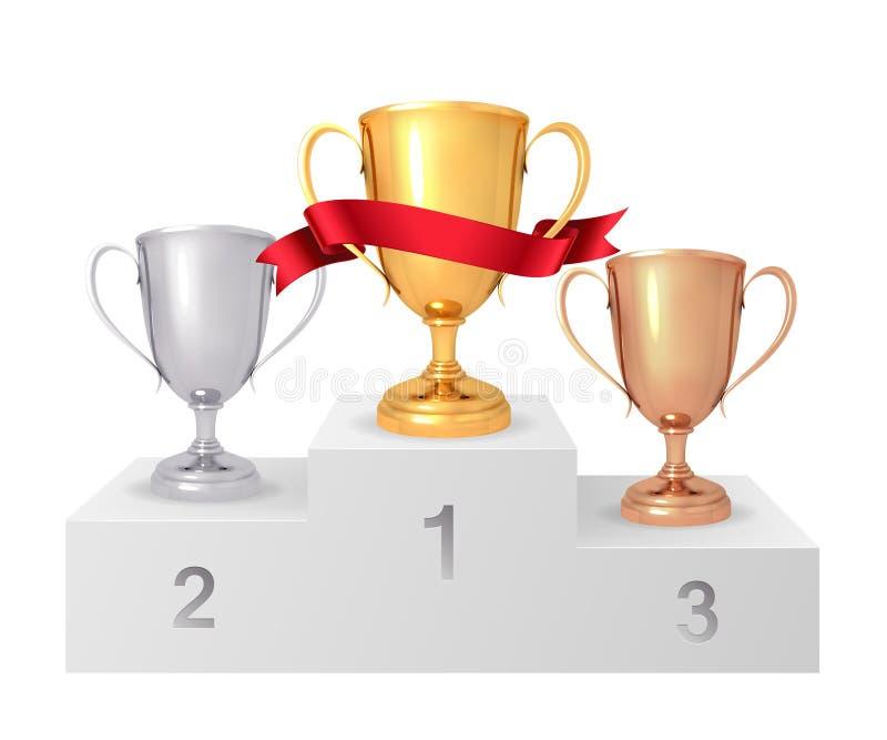 Os copos do ` s do vencedor Pódio branco dos vencedores suporte Grupo de ouro realístico, prata, copo de bronze Ilustração do vet ilustração do vetor