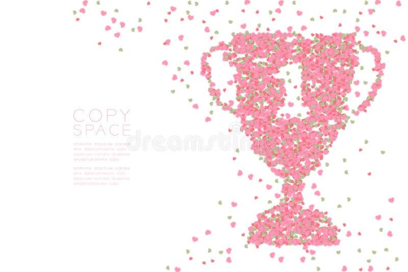 Os corações abstratos modelam a forma do copo do troféu do número um, vencedor do projeto de conceito do amor ilustração royalty free