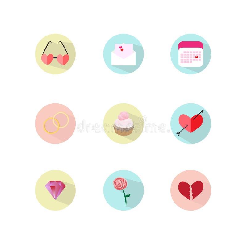Os corações ajustados do vetor do ícone amam o queque dos anéis da seta do ` s do cupido do diamante cor-de-rosa ilustração do vetor
