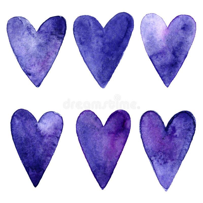 Os corações azuis e roxos do watercolour ajustaram-se no fundo branco ilustração stock