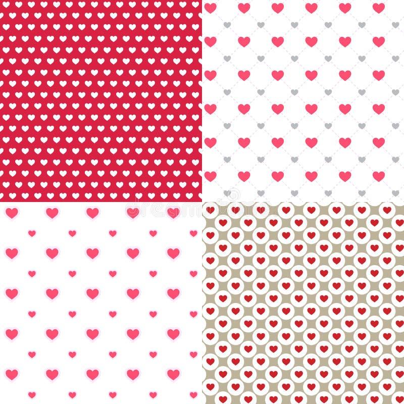 Os corações bonitos contornam 4 fundos sem emenda abstratos dos testes padrões para o papel de parede, teste padrão, Web, blogue, ilustração stock