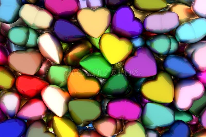 Os corações coloridos 3D rendem ilustração stock