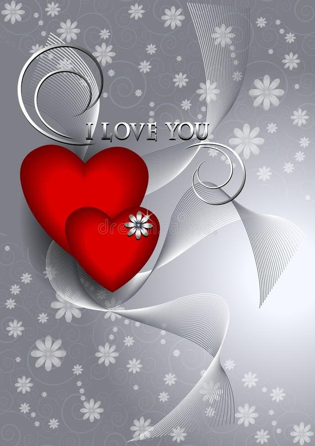 Os corações com as fitas no fundo claro espalhado florescem ilustração stock