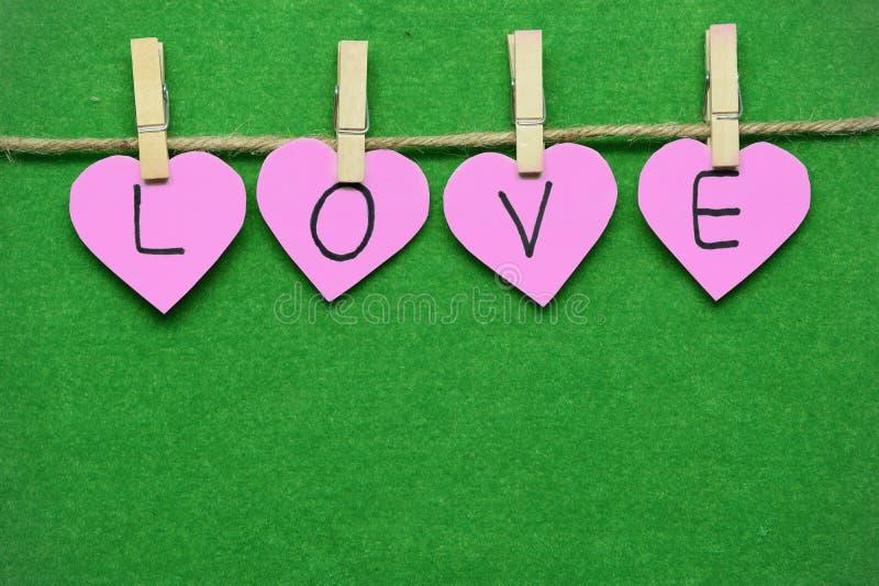 Os corações cor-de-rosa com a palavra amam sobre ao verde de grama úmido imagens de stock