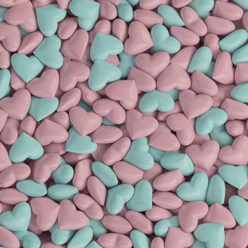 os corações 3d cor-de-rosa azuis amam o fundo ilustração do vetor