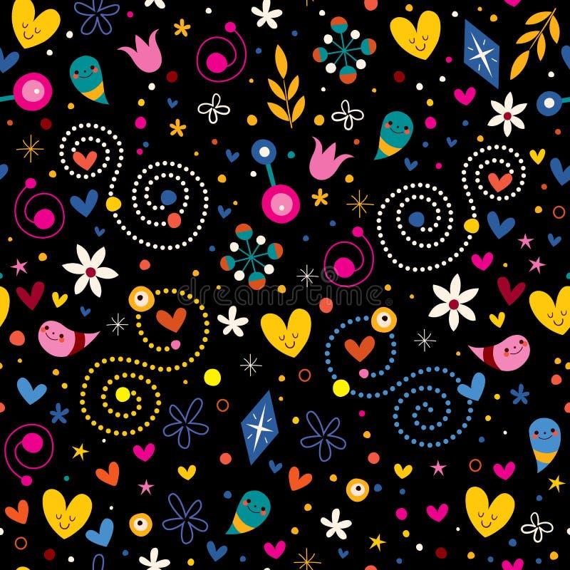 Os corações da harmonia do amor da natureza florescem o teste padrão sem emenda dos caráteres do divertimento dos pontos ilustração royalty free
