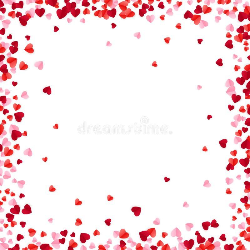 Os corações de papel vermelhos e cor-de-rosa moldam o fundo Os corações quadro com espaço para o texto Textura dispersada românti ilustração stock