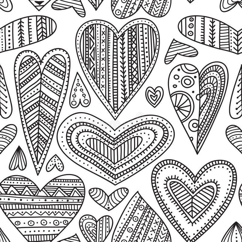 Os corações decorativos do estilo tribal étnico vector o teste padrão sem emenda ilustração royalty free