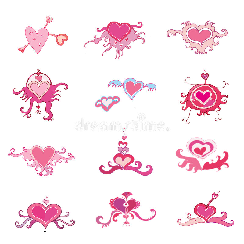 Os corações do Valentim ajustaram-se ilustração do vetor