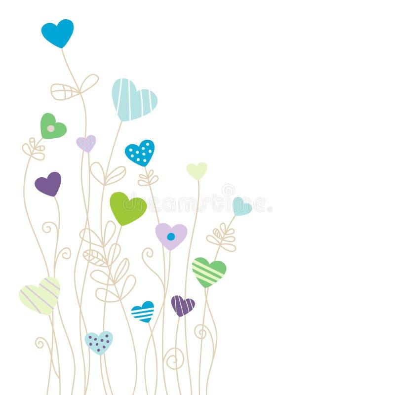 Os corações e as flores modelam o fundo azul e verde ilustração do vetor