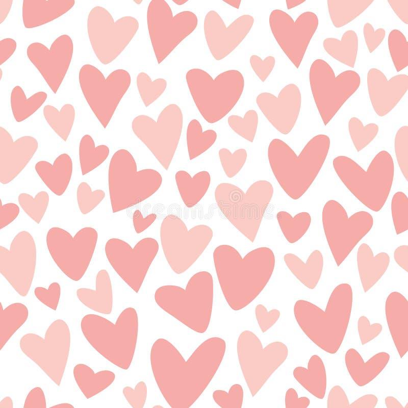 Os corações engraçados do teste padrão sem emenda cor-de-rosa repetem o fundo cor-de-rosa para o projeto da tela do vetor das men ilustração royalty free