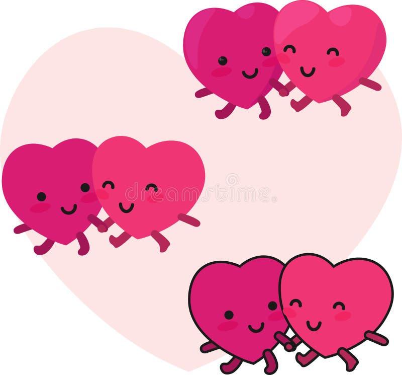 Os corações felizes acoplam-se ilustração do vetor