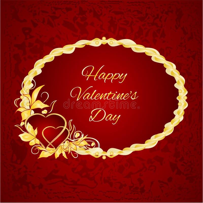 Os corações felizes do quadro do dia de são valentim com ouro saem do vetor ilustração do vetor