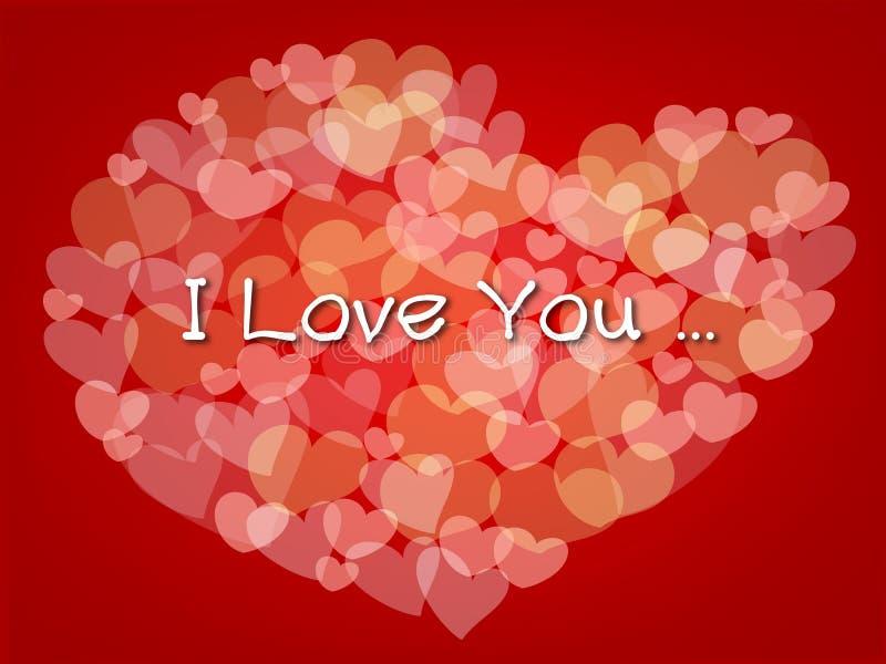 Os corações pequenos fazem uma forma grande do coração no fundo vermelho ilustração stock