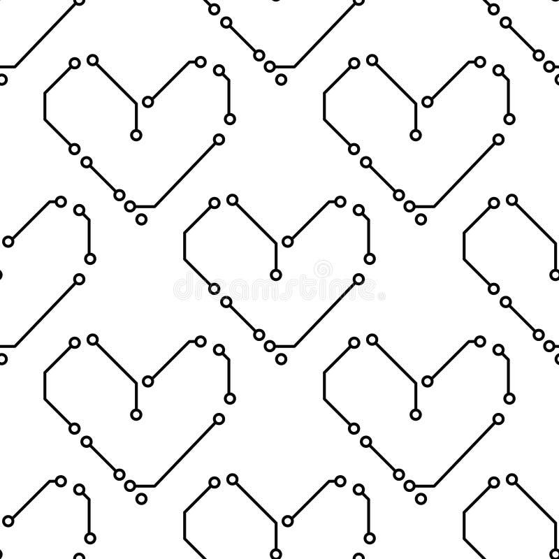 Os corações preto e branco da placa de circuito impresso dão forma ao teste padrão sem emenda da informática, vetor ilustração royalty free