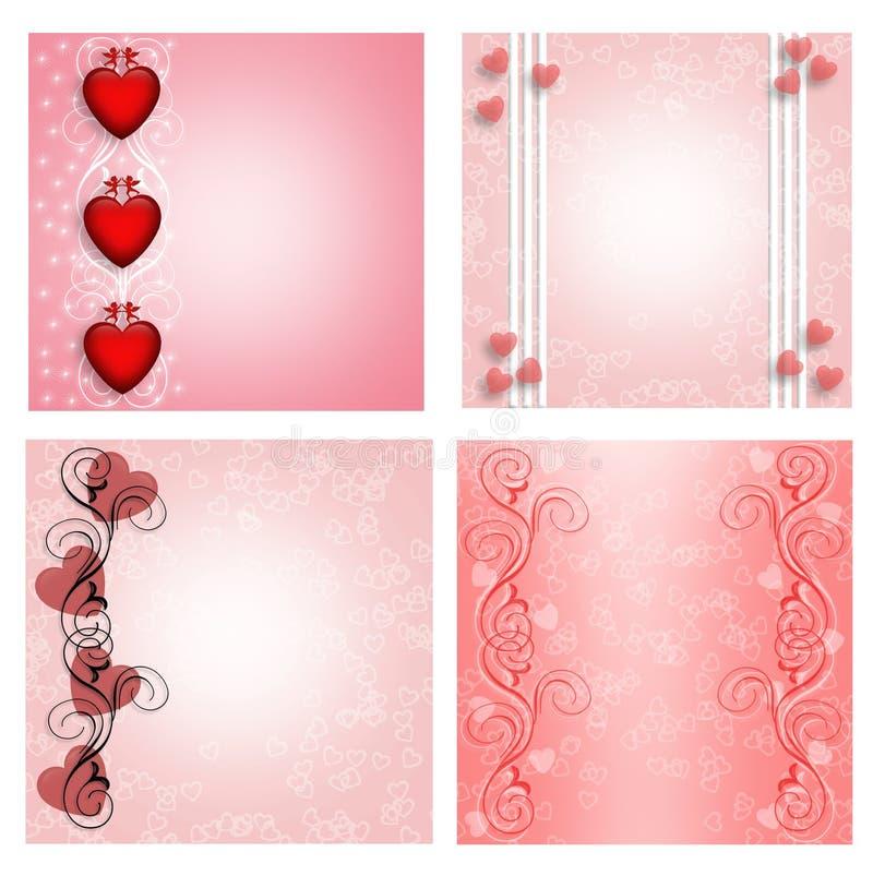Os corações projetam para etiquetas ou cartões 4 estilos ilustração do vetor