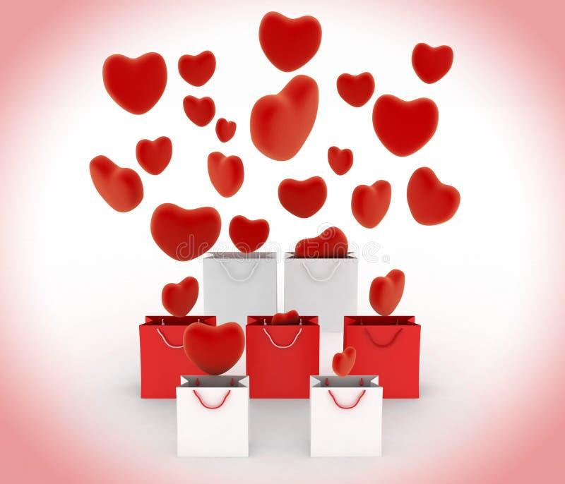 Os corações que caem no presente ensacam ilustração royalty free