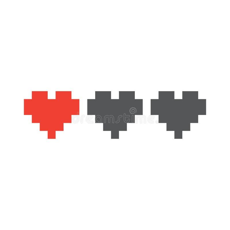 Os corações retros da vida do jogo do estilo da arte do pixel isolaram a ilustração do vetor ilustração stock