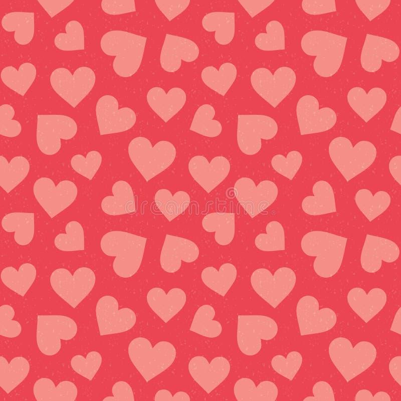 Os corações sem emenda bonitos modelam vermelho coral ilustração royalty free