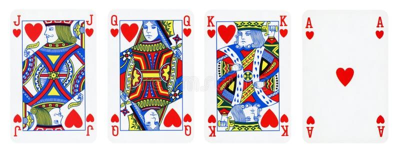 Os corações serem cartões de jogo, grupo incluem o rei, a rainha, o Jack e o Ace ilustração royalty free