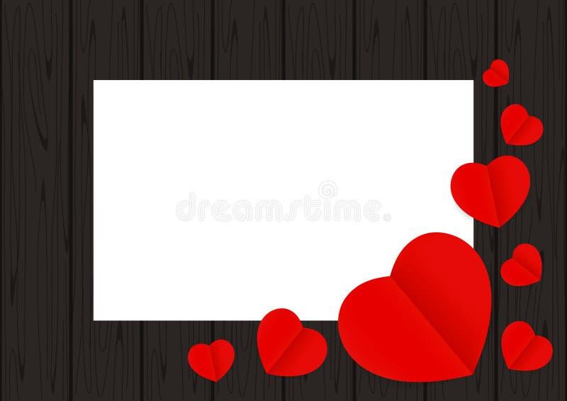 Os corações vermelhos dão forma na madeira preta para o Livro Branco do espaço da cópia do fundo da bandeira, muita forma do cora ilustração do vetor