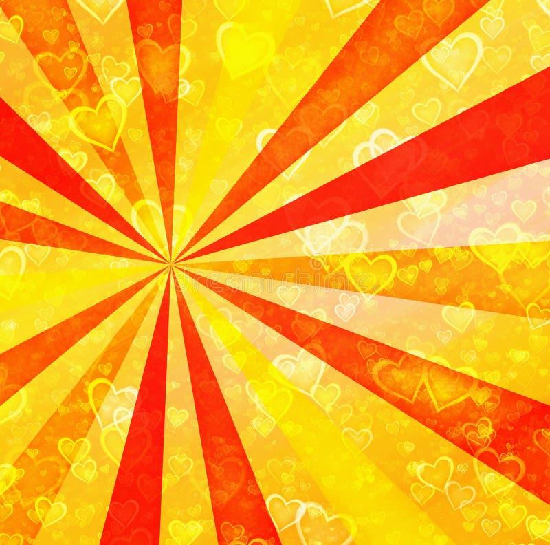 Os cora??es claros sonhadores no sol irradiam fundos ilustração stock