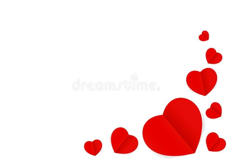 Os cora??es vermelhos d?o forma isolado no fundo branco, muito a forma vermelha de papel do cora??o para a decora??o do casamento ilustração do vetor