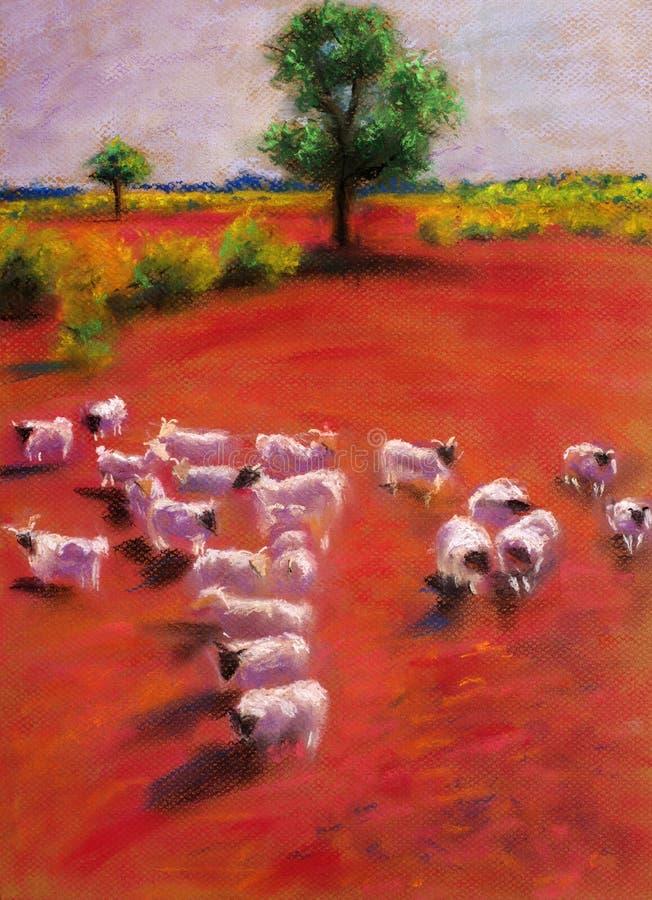 Download Os Cordeiros Estavam Pastando No Prado Ilustração Stock - Ilustração de lona, backdrop: 12802743