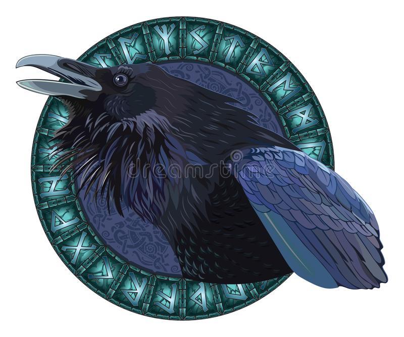 Os corvos pretos crocitando, em um círculo de brilhar runas escandinavas, cinzelaram na pedra ilustração do vetor