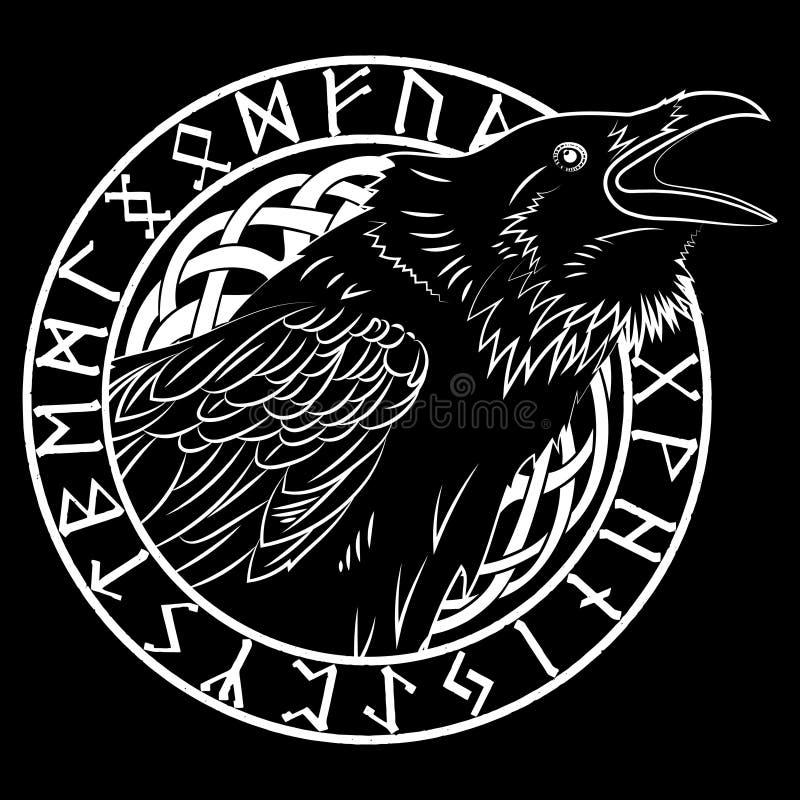 Os corvos pretos crocitando, em um círculo de runas escandinavas, cinzelaram na pedra ilustração do vetor
