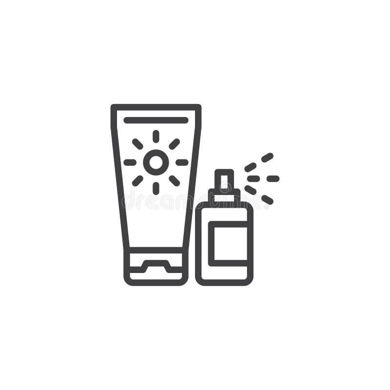 Os cosméticos da proteção de Sun alinham o ícone ilustração do vetor