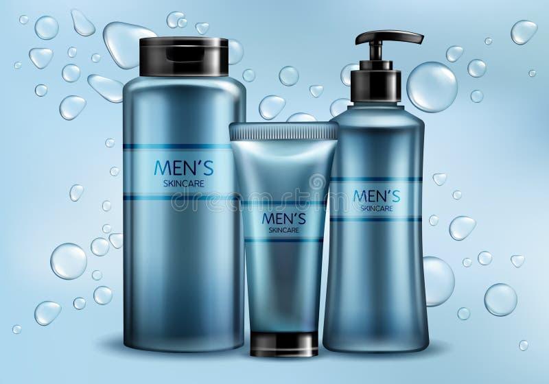Os cosméticos do skincare dos homens alinham o vetor realístico ilustração do vetor