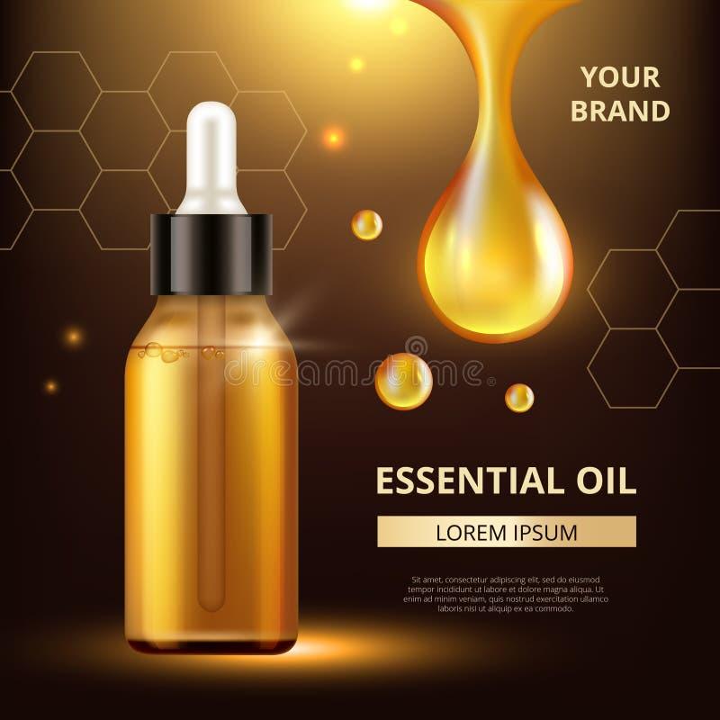 Os cosméticos lubrificam o cartaz Gotas transparentes douradas do extrato do óleo para o creme da mulher ou o vetor cosmético líq ilustração do vetor