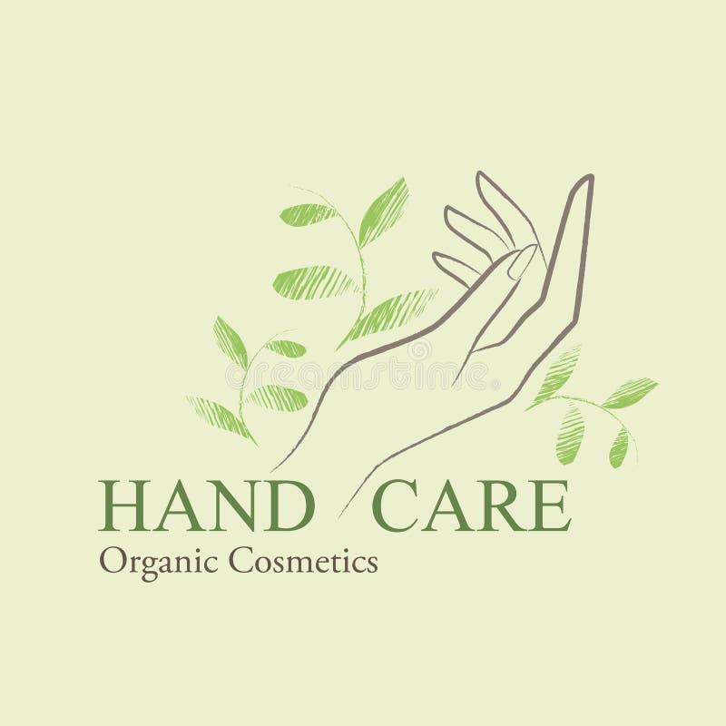 Os cosméticos orgânicos projetam elementos com mão da mulher contornada ilustração stock