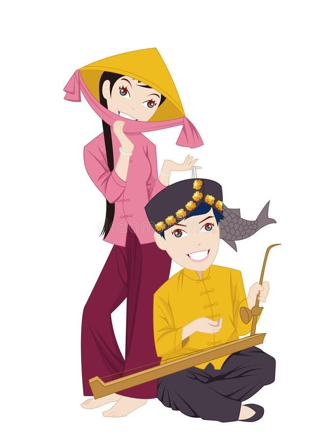 Os costumes dos trajes e dos povos do nacional chinês ilustração royalty free