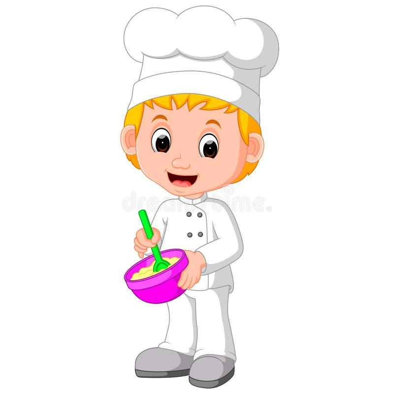 Os cozinheiros chefe bonitos fazem o pão ilustração do vetor