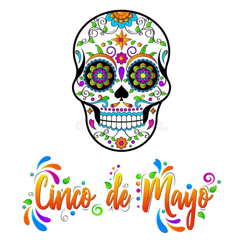 Os crânios mexicanos do açúcar, Cinco de Maya isolaram a ilustração ilustração royalty free