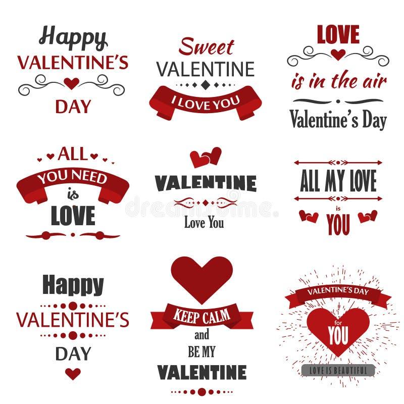 Os crachás do dia do ` s do Valentim, os ícones do coração, as ilustrações dos símbolos e a tipografia projetam elementos ilustração do vetor