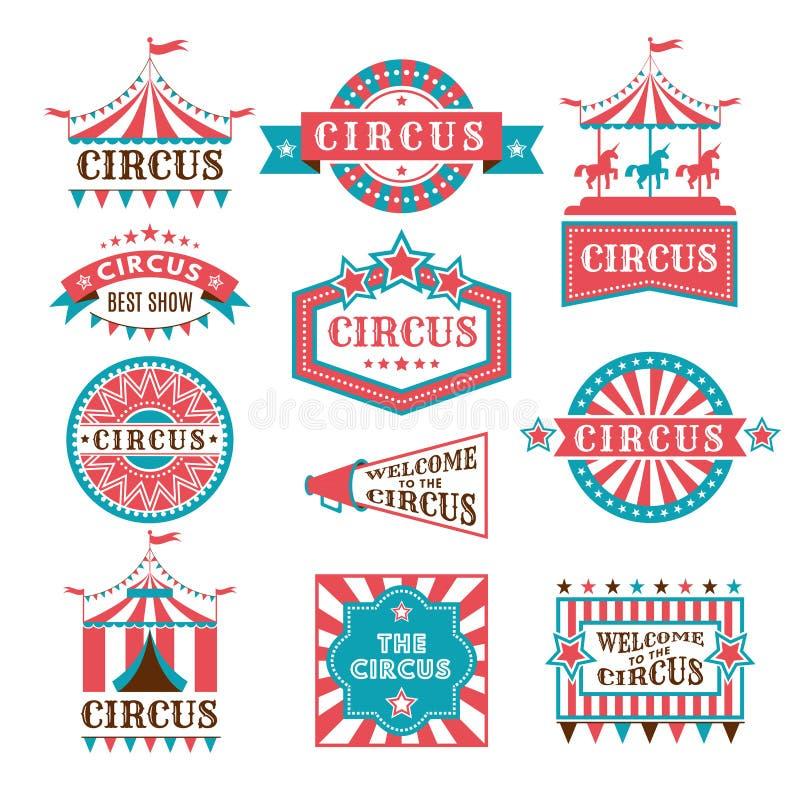 Os crachás e as etiquetas velhos para o carnaval e o circo mostram o convite Logotipos monocromáticos do vetor ilustração royalty free