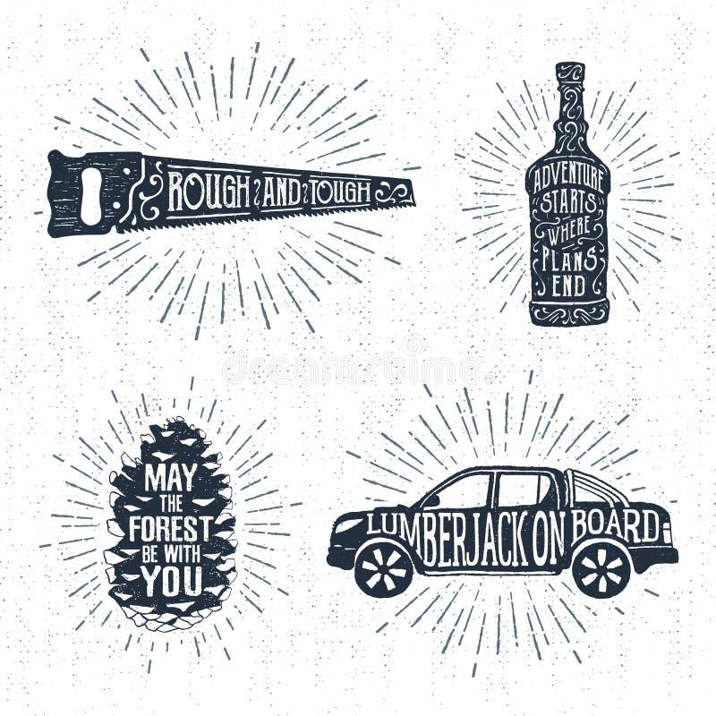Os crachás tirados mão ajustaram-se com consideraram, garrafa de uísque, cone da árvore de abeto, e ilustrações do camionete ilustração do vetor