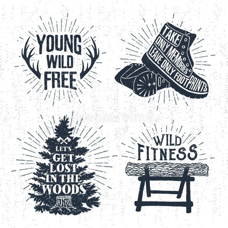 Os crachás tirados mão do vintage ajustaram-se com chifres, as botas, a árvore de abeto, e ilustrações textured do log ilustração do vetor
