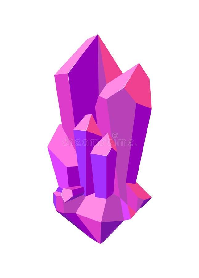 Os cristais afiados sem cortes roxos isolaram a ilustração ilustração royalty free