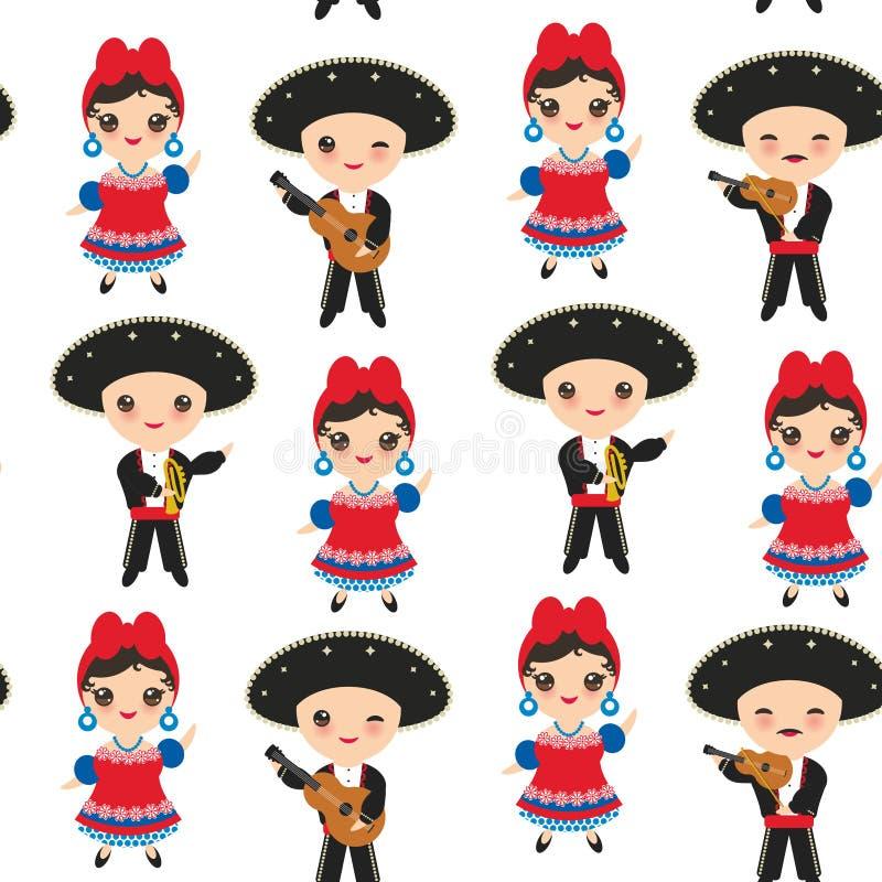 Os cubanos sem emenda menino e menina do teste padrão em crianças nacionais dos desenhos animados do traje e do chapéu em Cuba tr ilustração do vetor