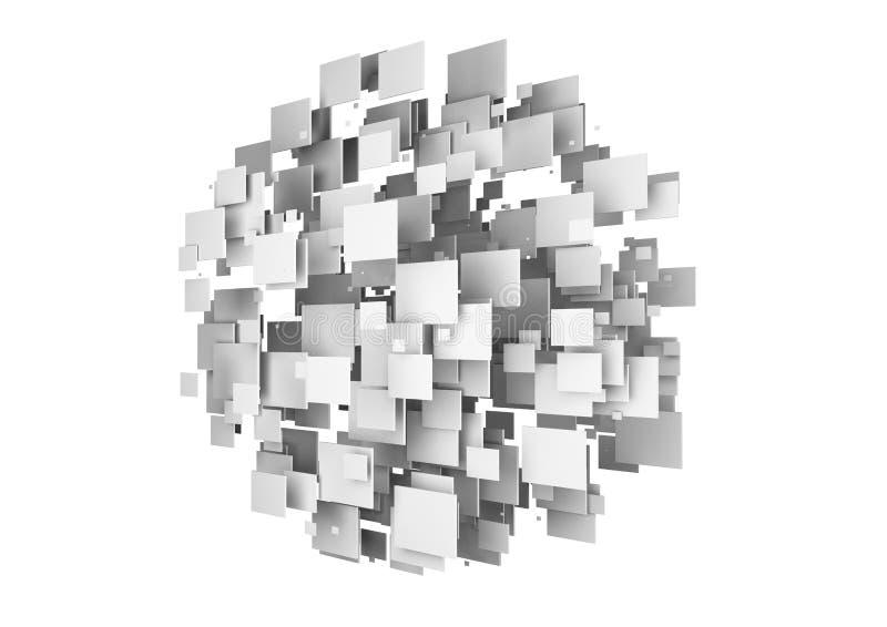 Os cubos abstratos dão forma a uma esfera no fundo branco, 3d ilustração royalty free