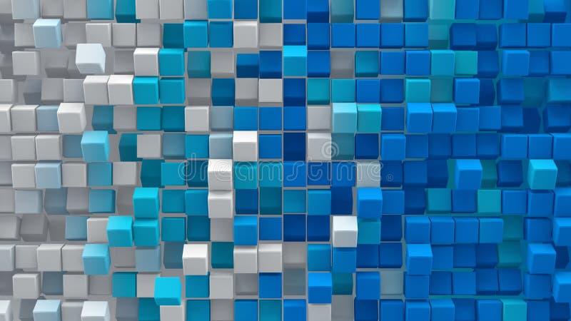 Os cubos azuis brancos 3D do inclinação rendem ilustração do vetor