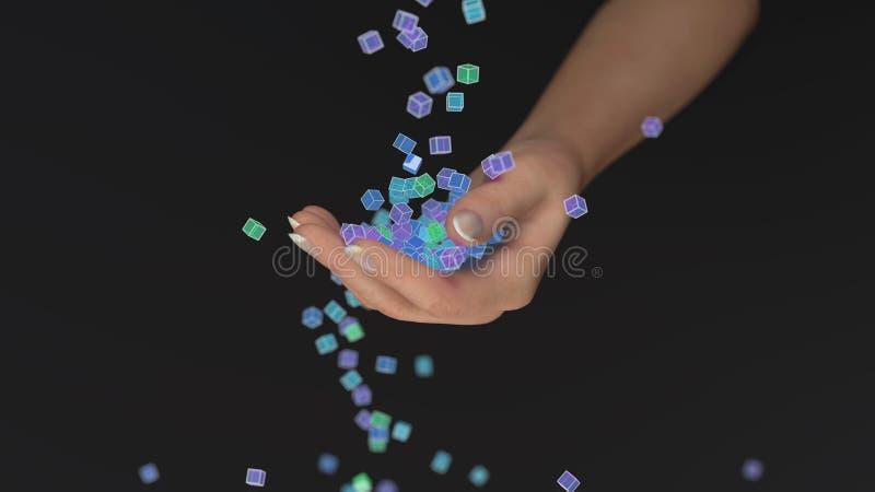 Os cubos coloridos caem na mão ilustração stock