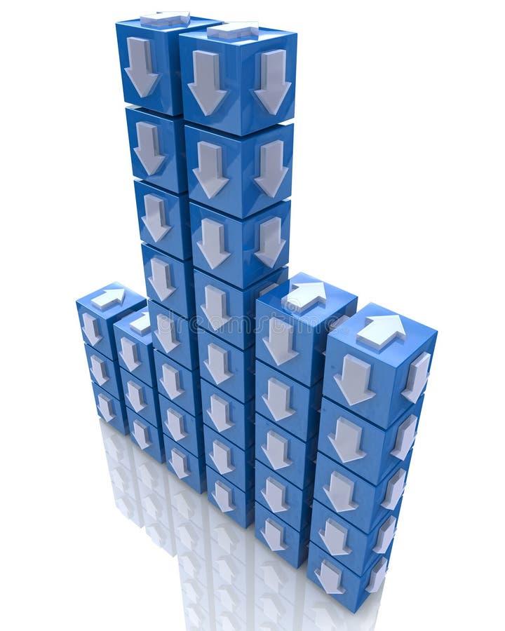 Cubos com setas ilustração stock