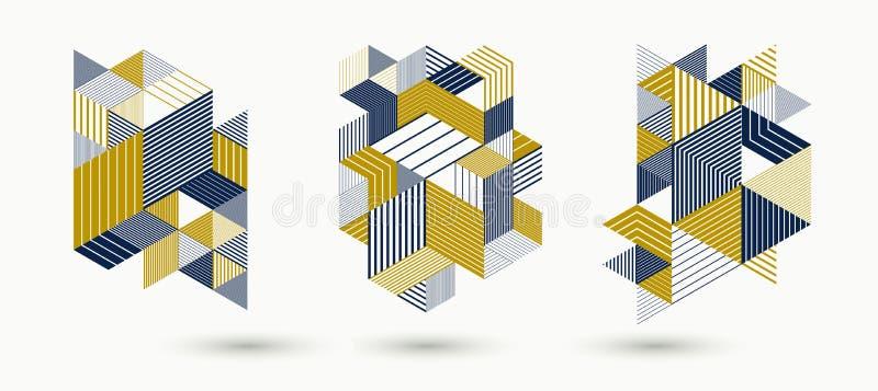 os cubos 3D e os triângulos alinharam os fundos abstratos listrados do vetor ajustados com os elementos retros do estilo isolados ilustração royalty free